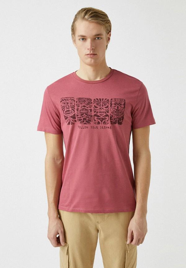 мужская футболка с коротким рукавом koton, розовая