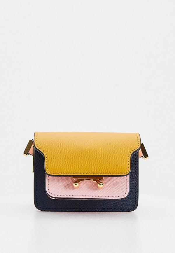 женская сумка через плечо marni, разноцветная