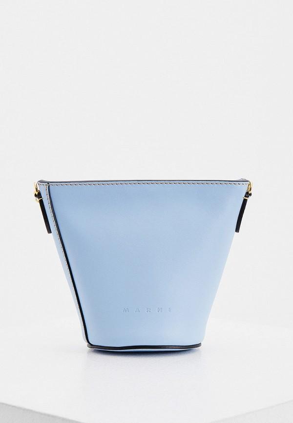 женская сумка через плечо marni, голубая