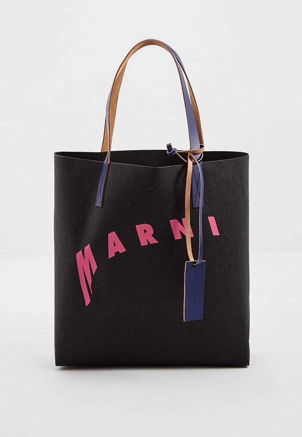 женская сумка-шоперы marni, черная