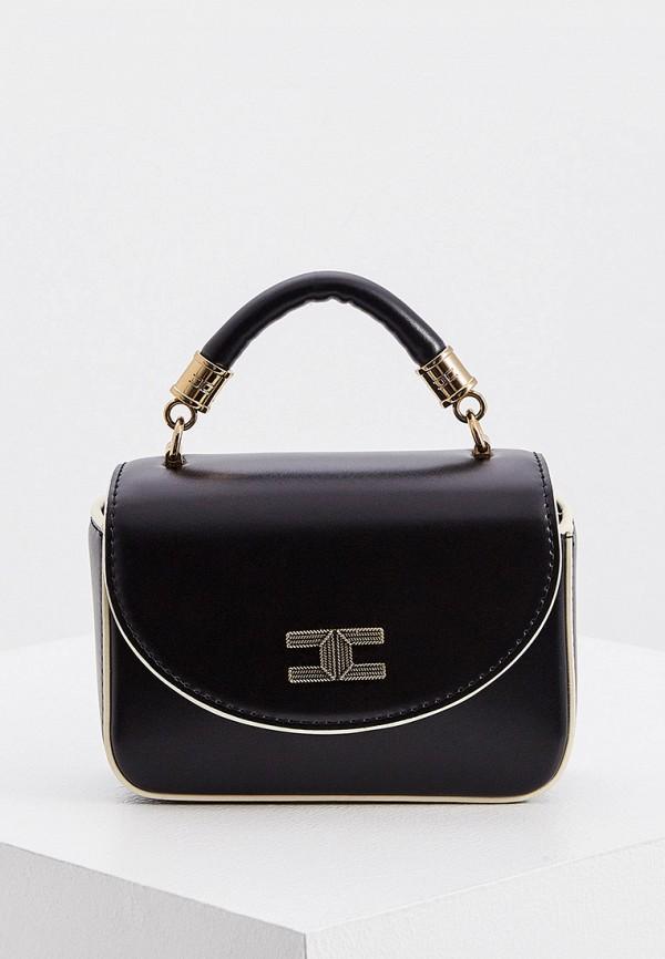 женская сумка с ручками elisabetta franchi, черная