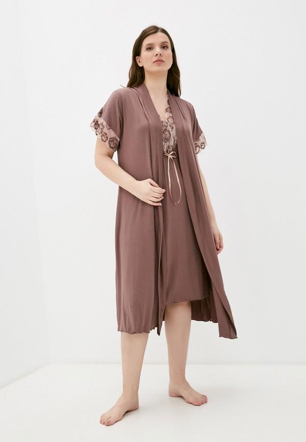 женский халат rene santi, коричневый
