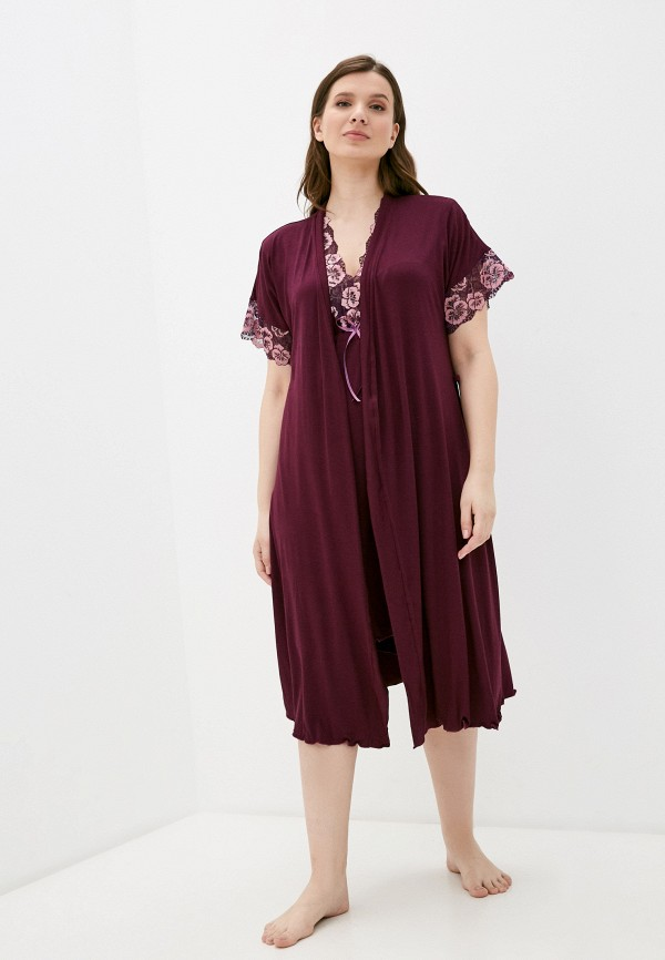 женский халат rene santi, бордовый