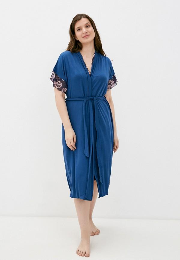 женский халат rene santi, синий