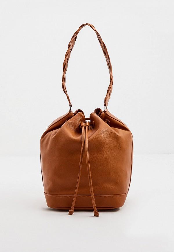 женская сумка-ведро max&co, коричневая