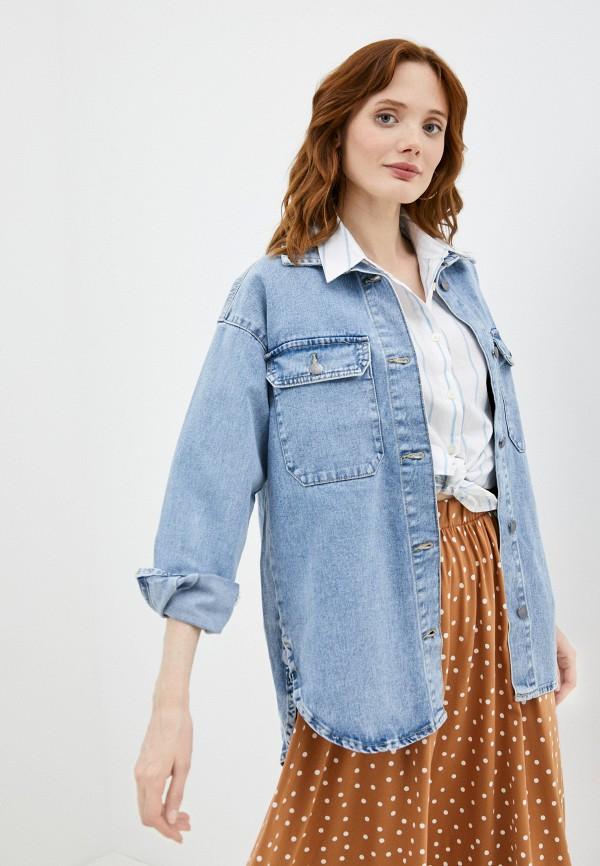 женская джинсовые рубашка jacqueline de yong, голубая