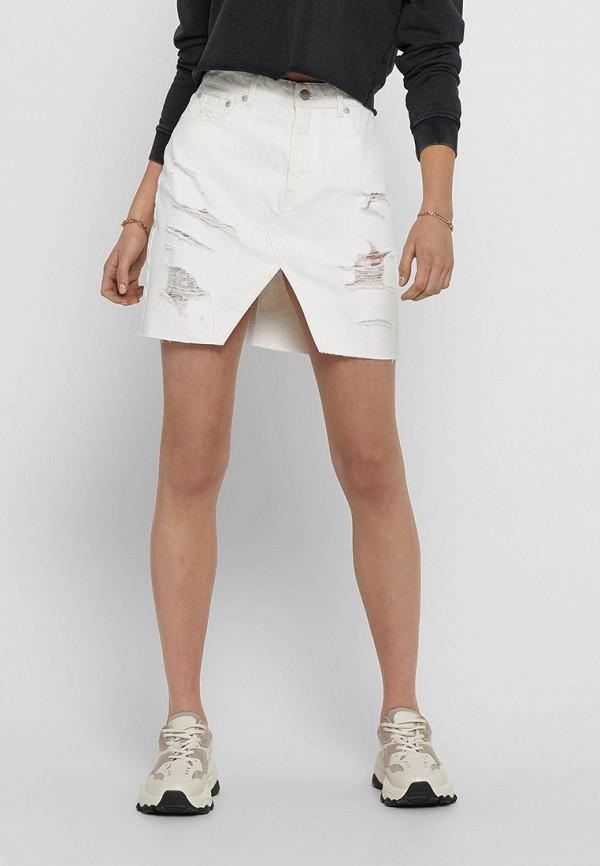 женская джинсовые юбка only, белая