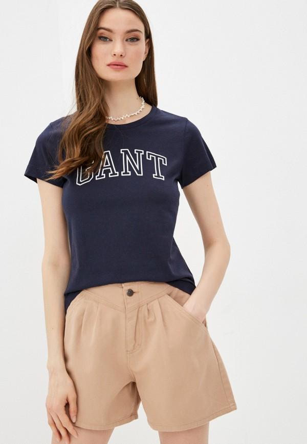 женская футболка gant, синяя