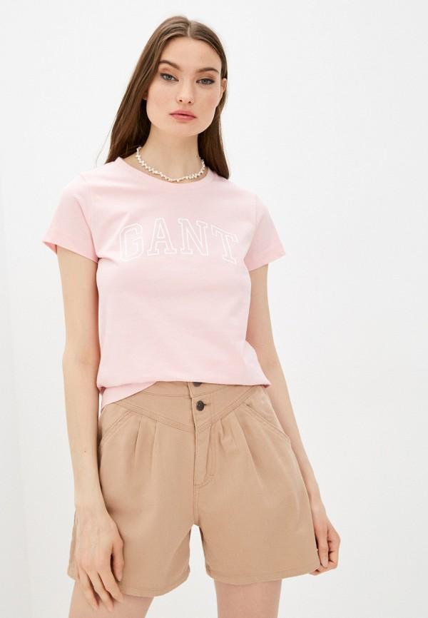женская футболка gant, розовая