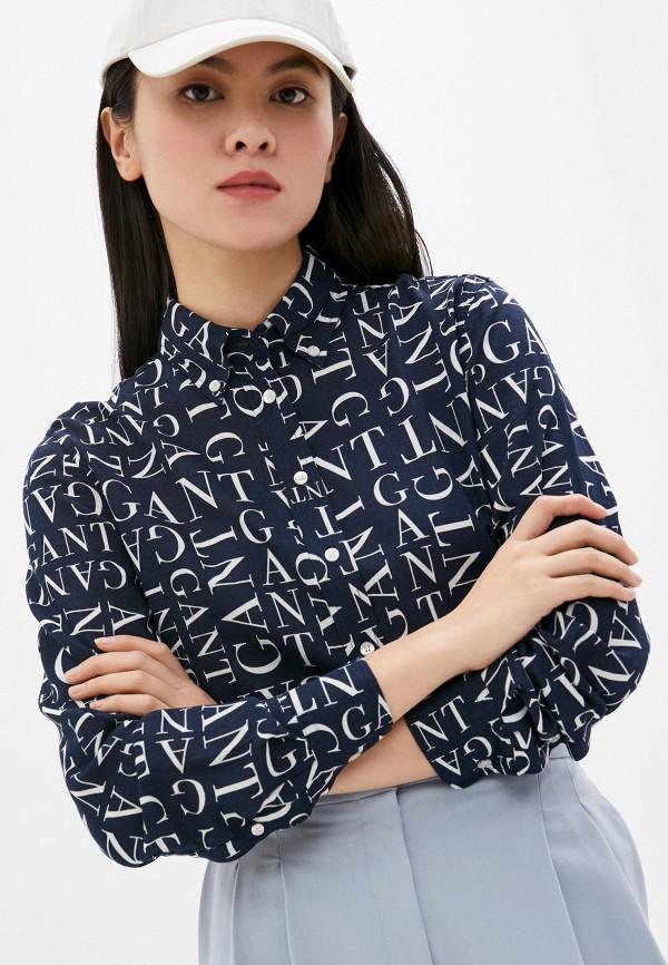 женская рубашка с длинным рукавом gant, синяя
