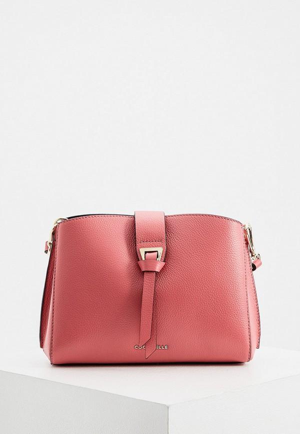 женская сумка с ручками coccinelle, розовая