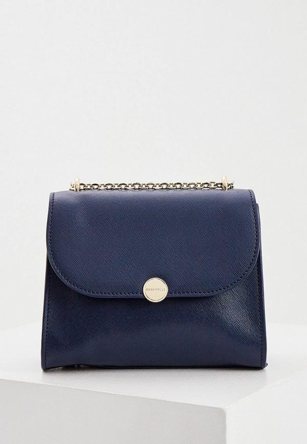 женская сумка через плечо coccinelle, синяя