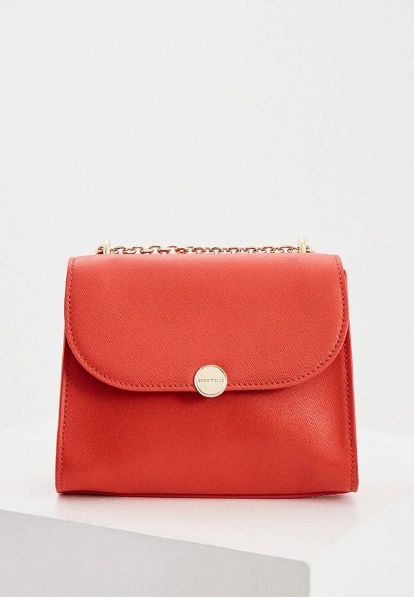 женская сумка через плечо coccinelle, красная