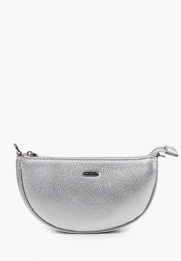 женская сумка через плечо david jones, серебряная