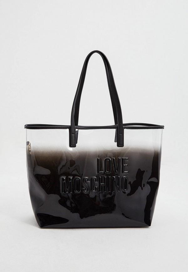 женская сумка-шоперы love moschino, черная