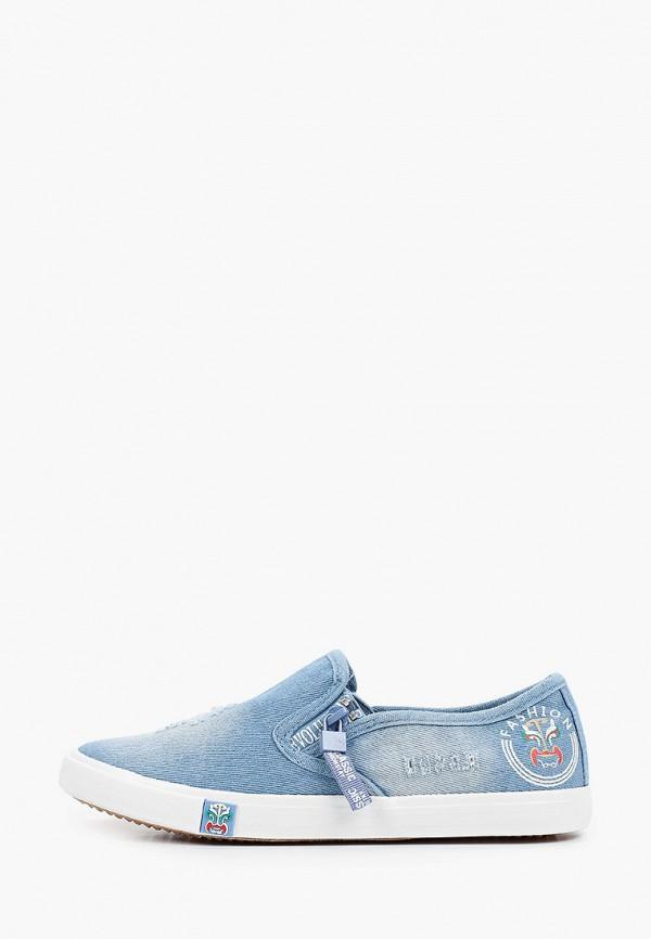 женские низкие слипоны m25, голубые