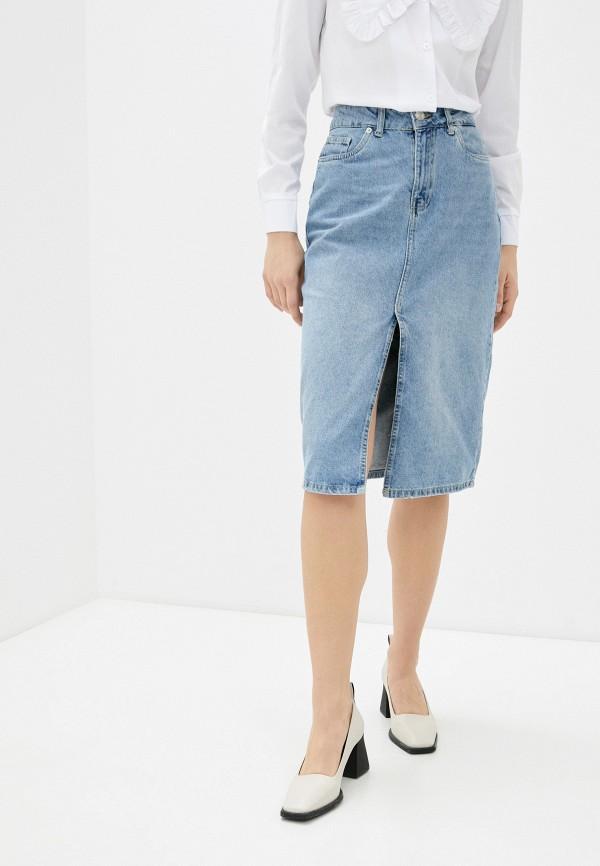 женская джинсовые юбка koton, голубая