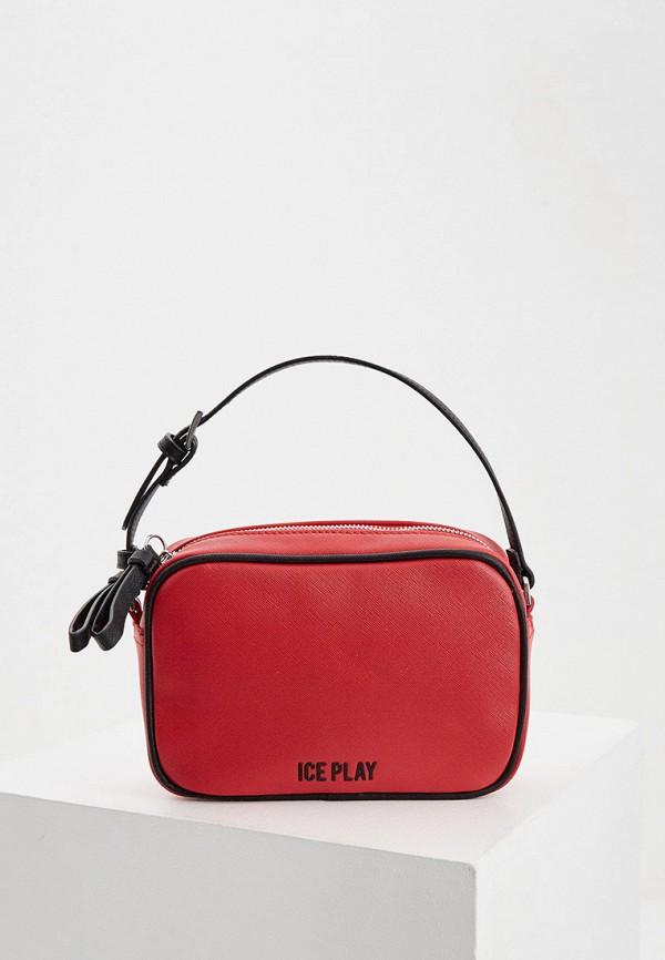 женская сумка через плечо ice play, красная