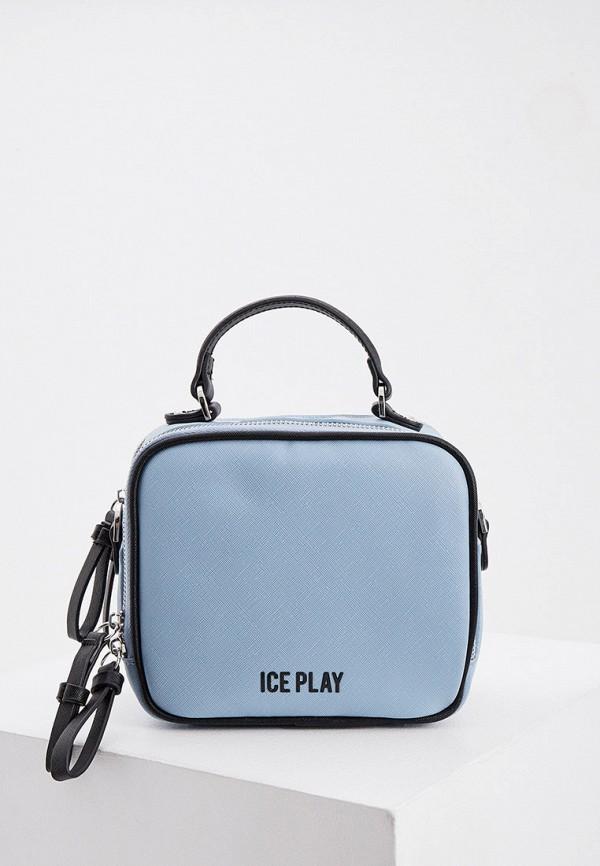 женская сумка с ручками ice play, голубая