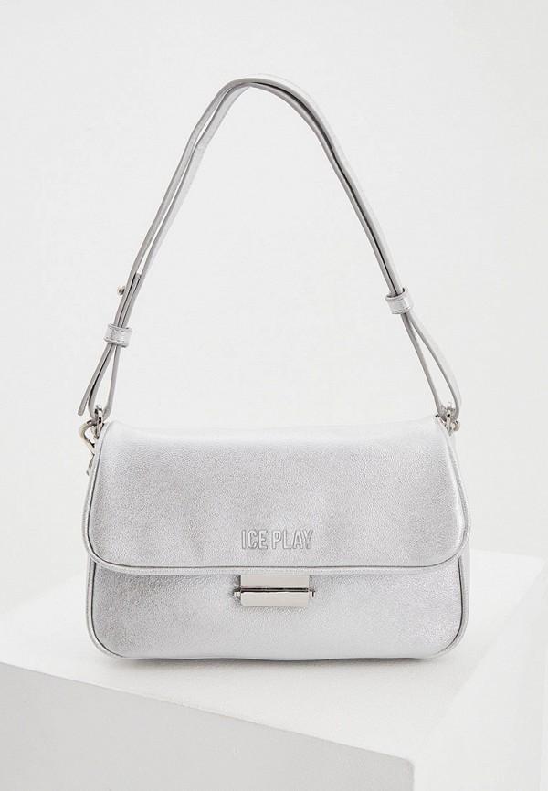 женская сумка с ручками ice play, серебряная