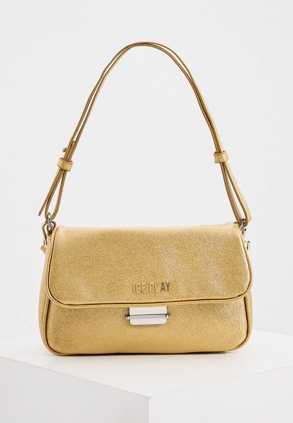 женская сумка с ручками ice play, золотая