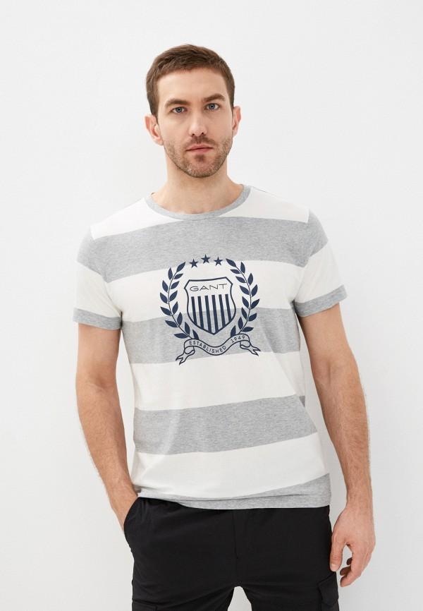 мужская футболка с коротким рукавом gant, серая