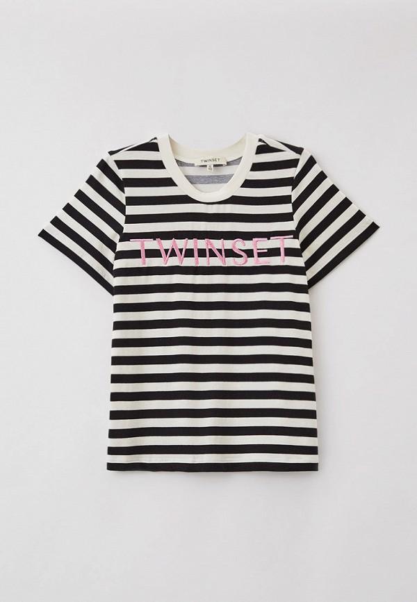футболка с коротким рукавом twinset milano для девочки, разноцветная