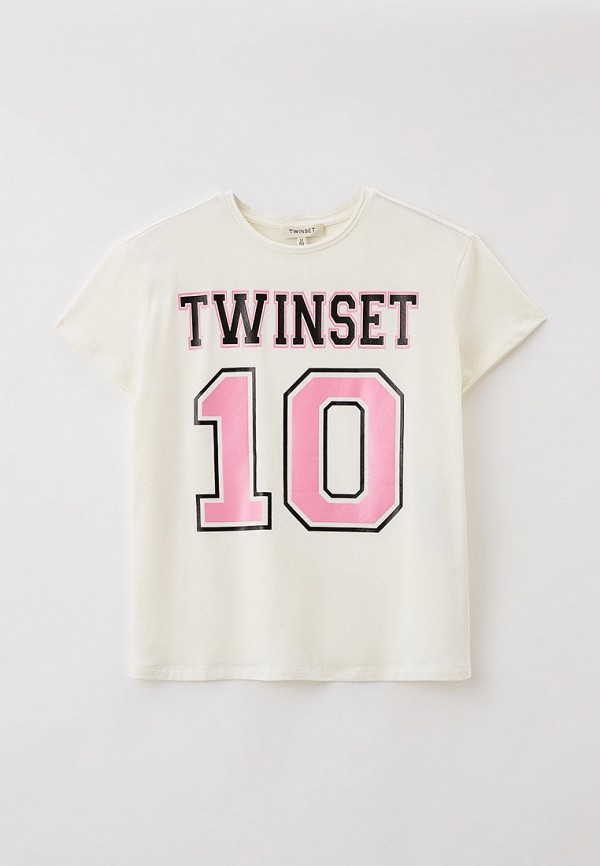футболка с коротким рукавом twinset milano для девочки, белая