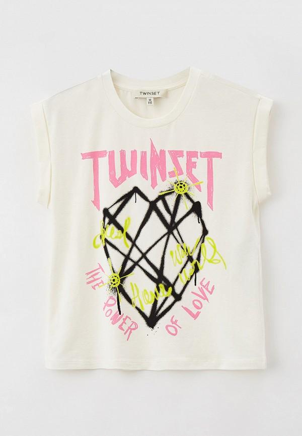 футболка с коротким рукавом twinset milano для девочки, бежевая