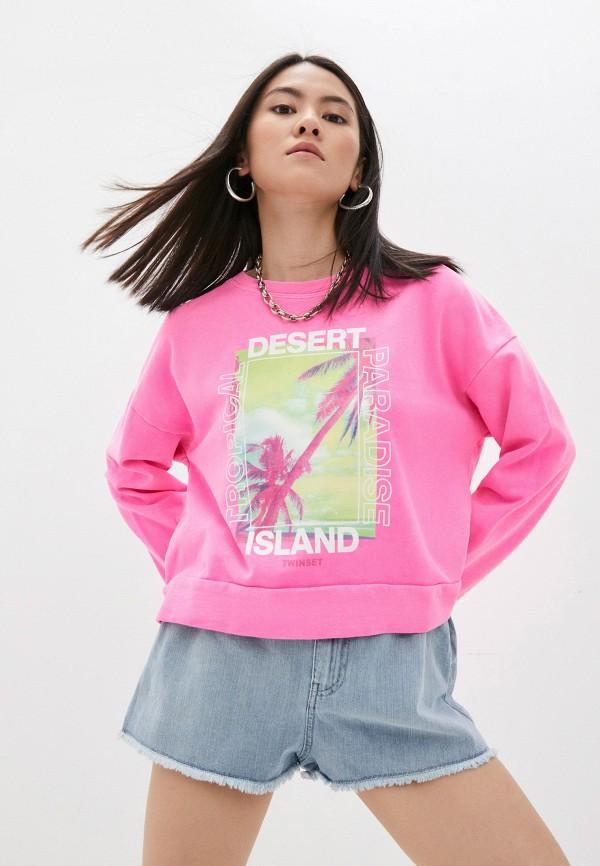 женский свитшот twinset milano, розовый