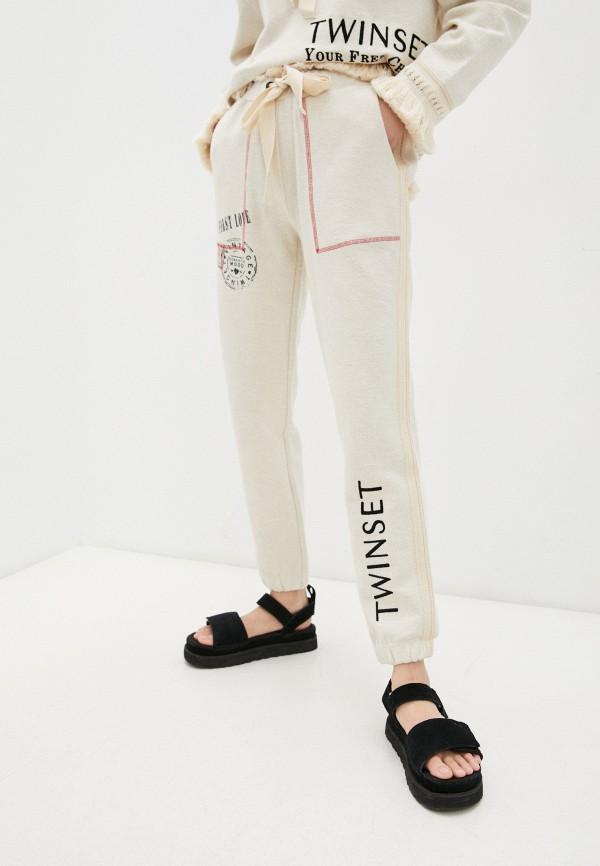 женские спортивные брюки twinset milano, бежевые