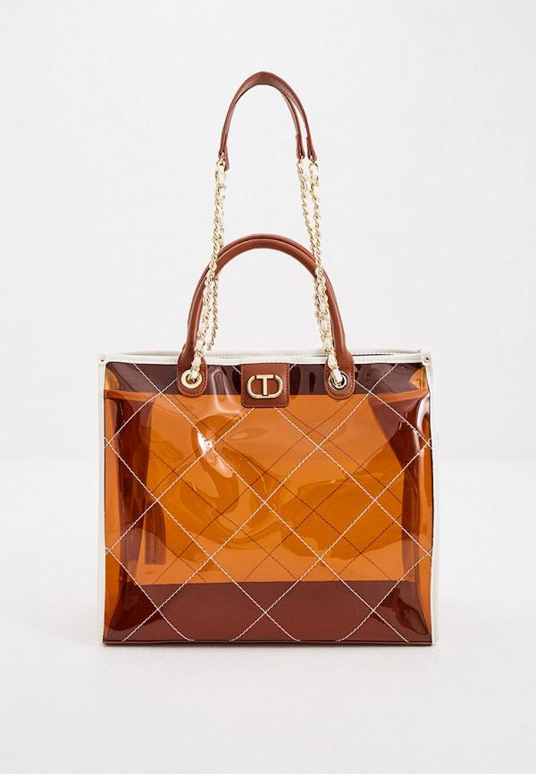 женская сумка twinset milano, коричневая
