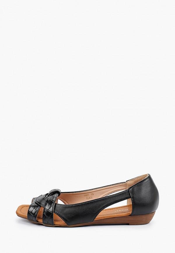 женские балетки с открытым носом ideal shoes, черные