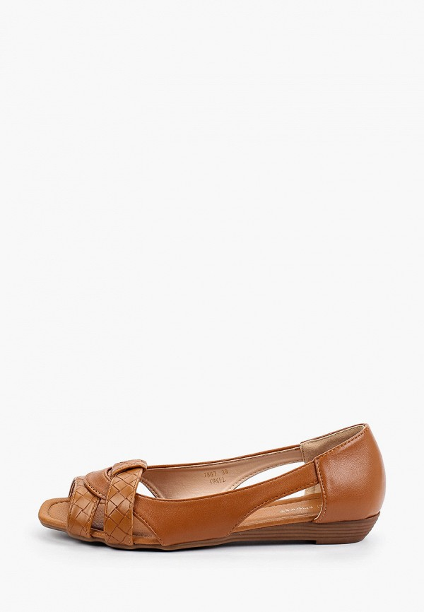 женские балетки с открытым носом ideal shoes, коричневые