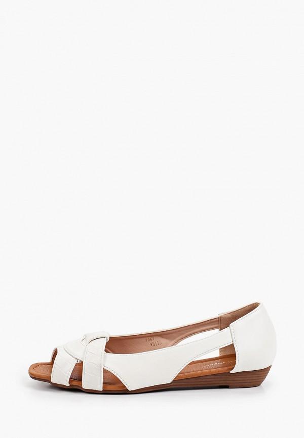 женские балетки с открытым носом ideal shoes, белые