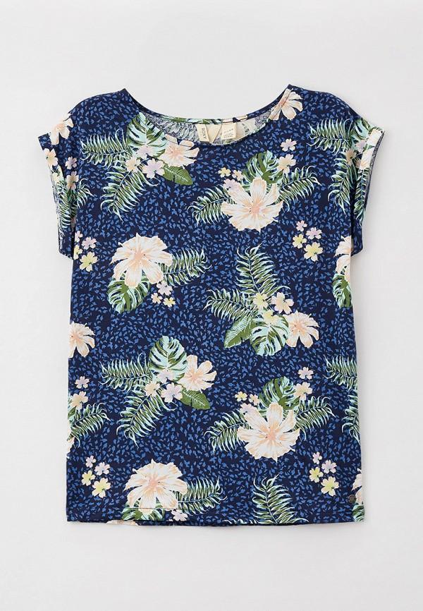 футболка с коротким рукавом roxy для девочки, синяя