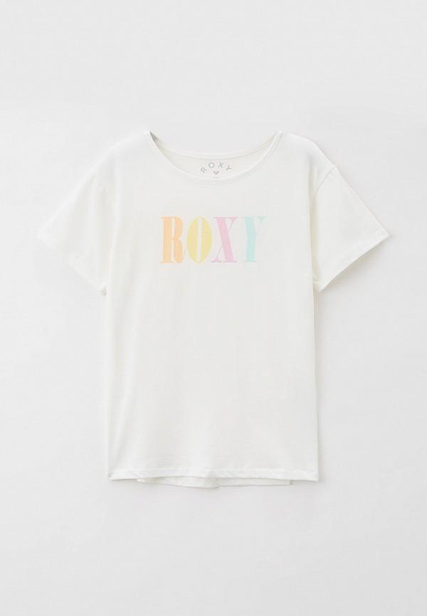 футболка с коротким рукавом roxy для девочки, белая