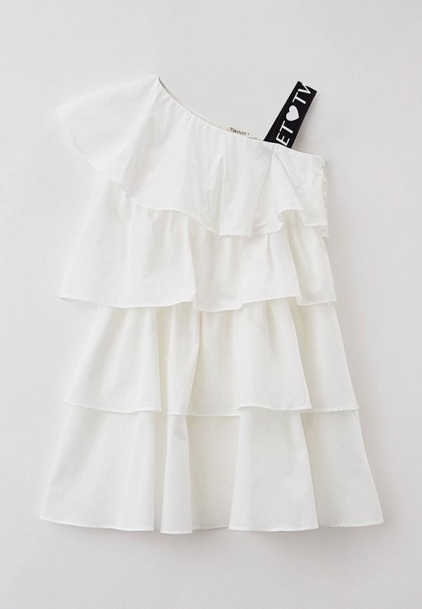 повседневные платье twinset milano для девочки, белое