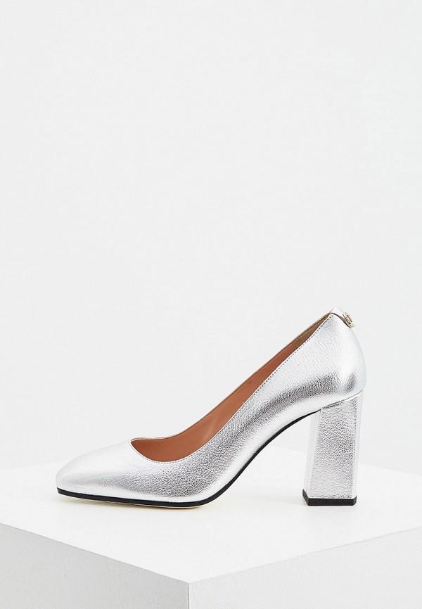женские туфли с закрытым носом pollini, серебряные