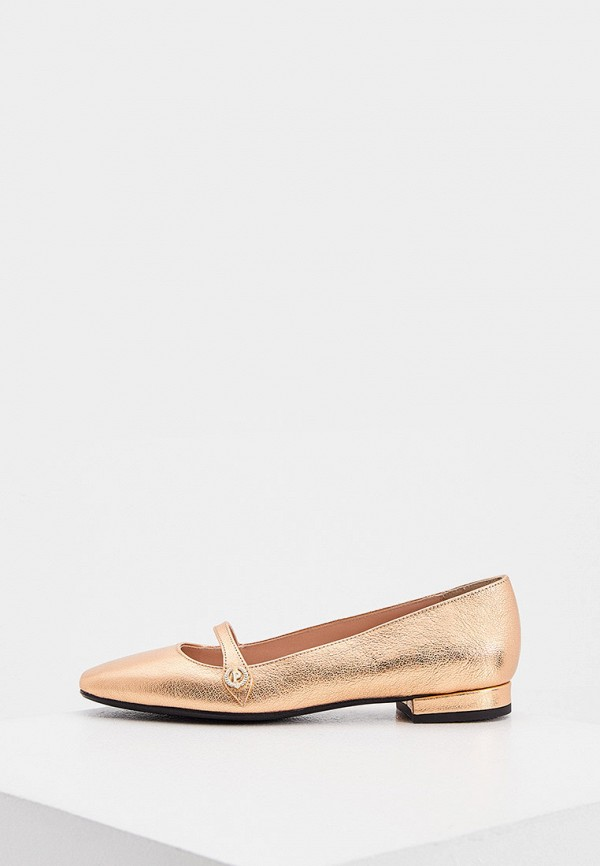 женские туфли с закрытым носом pollini, золотые