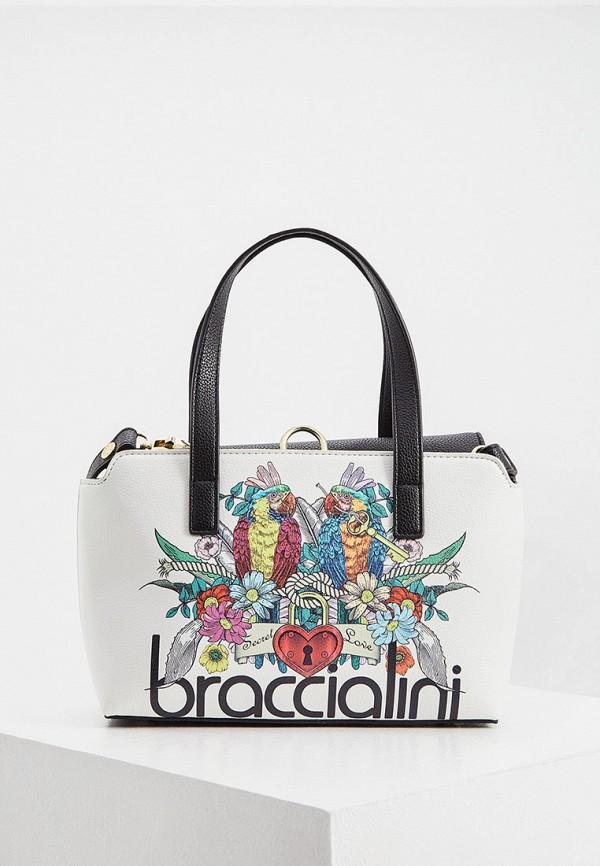 женская сумка с ручками braccialini, белая