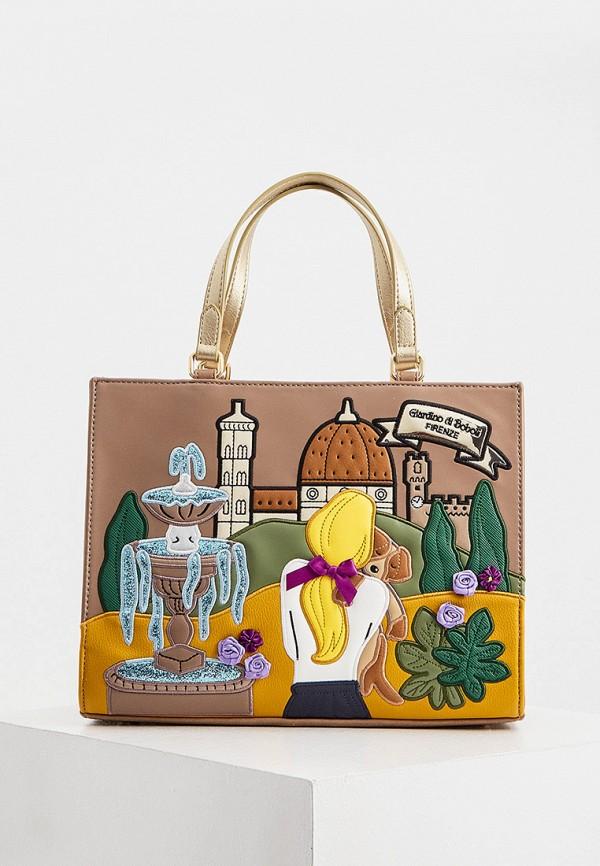 женская сумка с ручками braccialini, коричневая