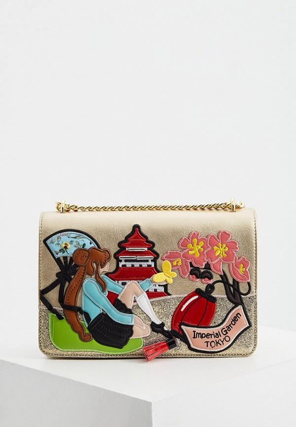 женская сумка через плечо braccialini, золотая