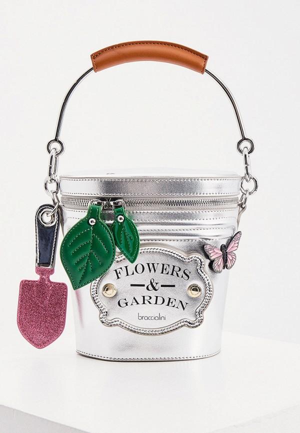 женская сумка с ручками braccialini, серебряная