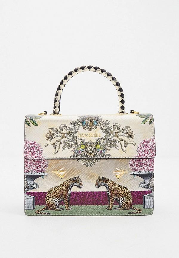 женская сумка с ручками braccialini, золотая