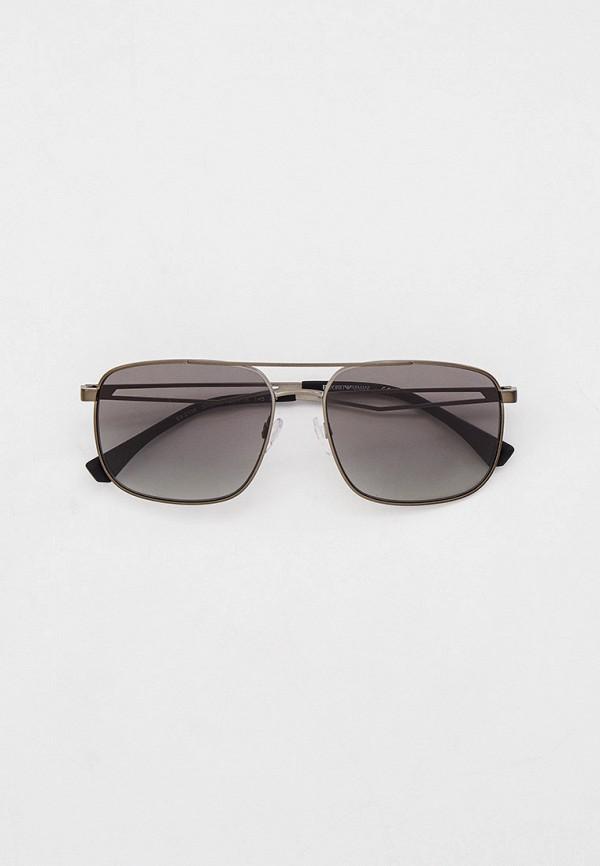 мужские квадратные солнцезащитные очки emporio armani, серебряные