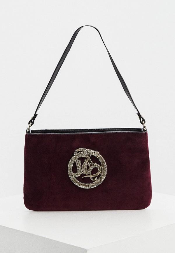женская сумка с ручками just cavalli, бордовая