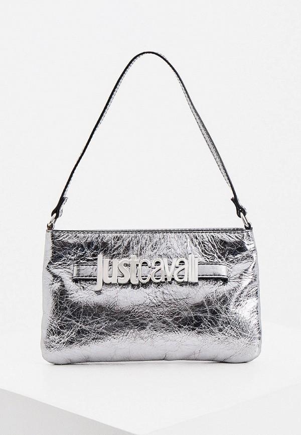 женская сумка с ручками just cavalli, серебряная