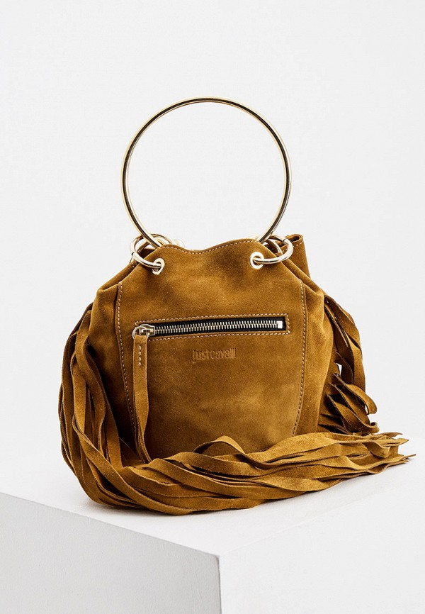 женская сумка с ручками just cavalli, хаки