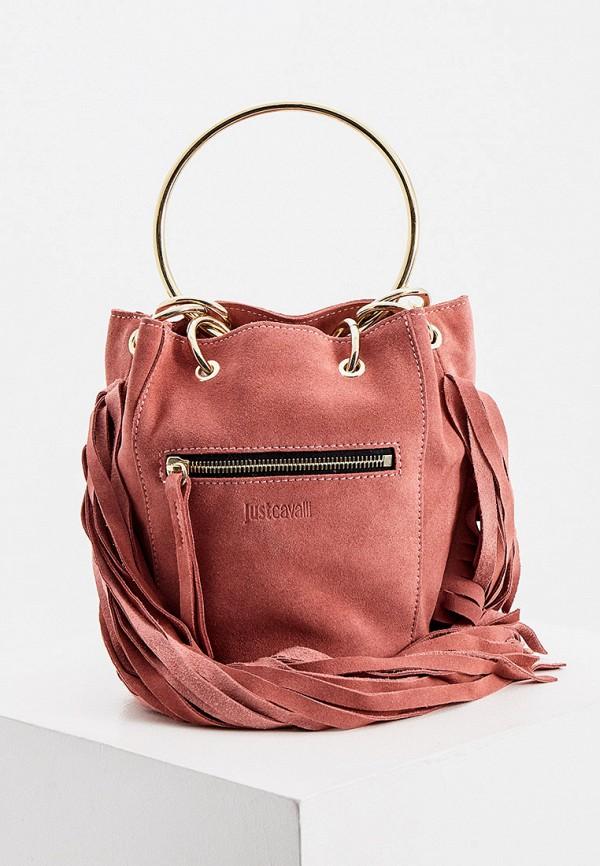 женская сумка с ручками just cavalli, розовая